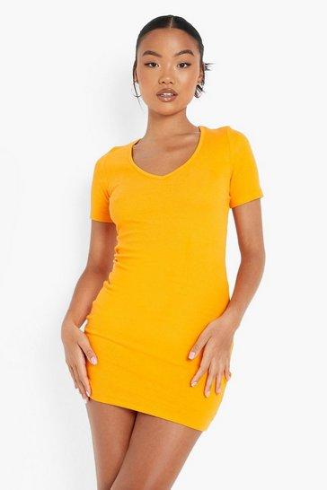 Orange Petite Recycled V Neck Mini Dress