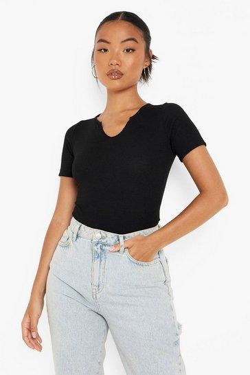 Black Petite Recycled Notch Detail Bodysuit