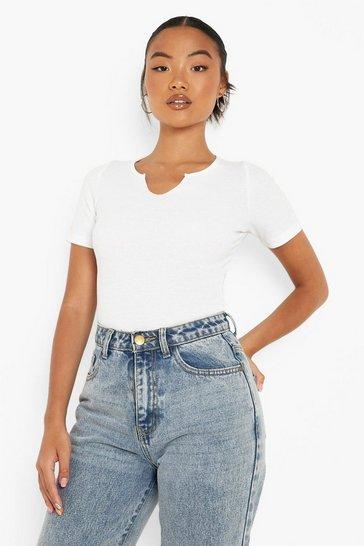 White Petite Recycled Notch Detail Bodysuit