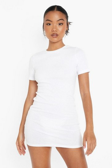 White Petite Recycled Short Sleeved Mini Dress