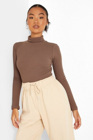 Coffee brown Petite Recycled Roll Neck Bodysuit