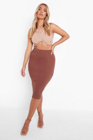 Chocolate brown Plus Premium Rib Midi Skirt