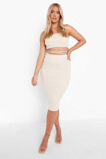 Stone beige Plus Rib Tie Waist Midi Skirt