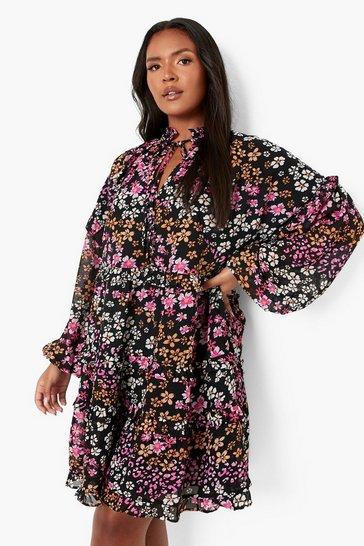 Multi Plus Floral Ruffle Tie Keyhole Smock Dress