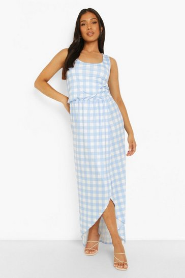 Blue Petite Wrap Front Gingham Print Maxi Dress