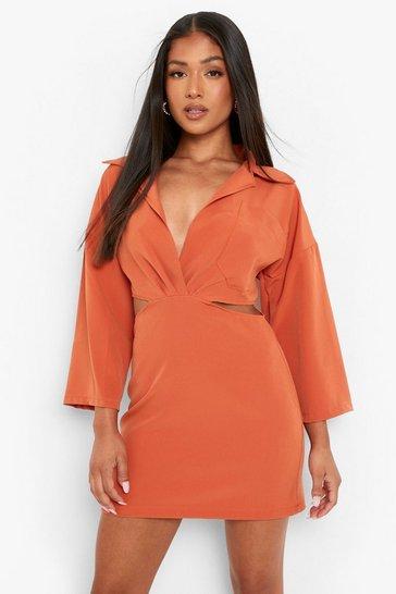 Orange Petite Open Side Tailored Shirt Dress