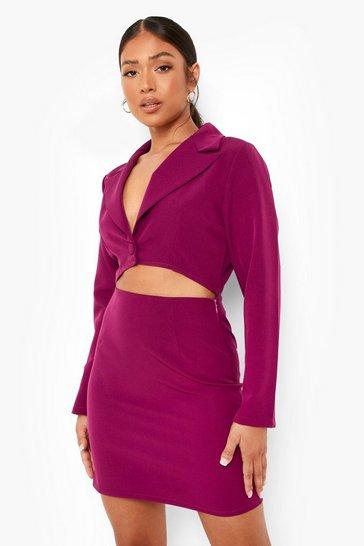Fuchsia pink Petite Woven Cut Out Blazer Dress