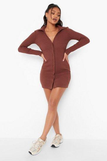Chocolate brown Petite Collar Detail Mini Dress
