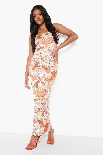 Orange Petite Scoop Neck Retro Print Maxi Dress