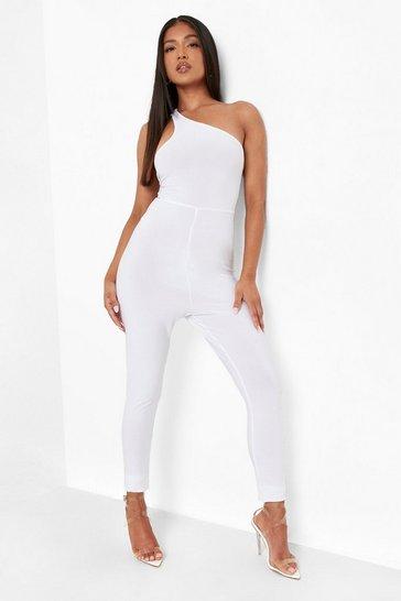 White Petite Tie Back Slinky One Shoulder Jumpsuit
