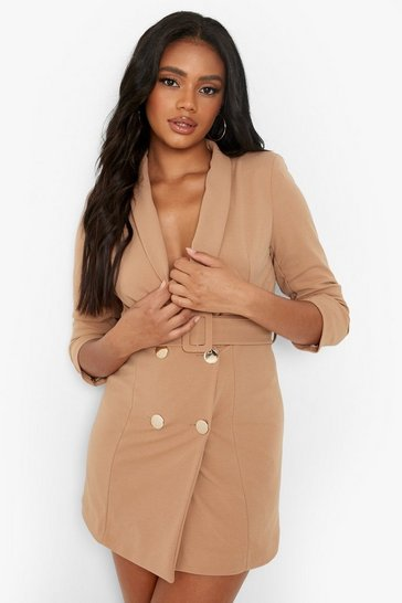 Stone beige Petite Self Belt Button Blazer Dress