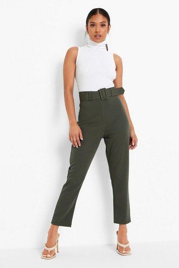 Khaki Petite Wide Buckle Belt Tapered Trouser