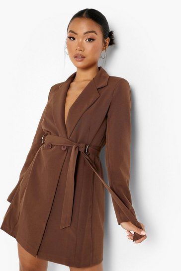 Chocolate brown Petite Tailored D-ring Belted Blazer Dress
