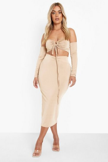 Mocha beige Plus Recycled Ruched Detail Maxi Skirt Co-ord