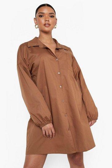 Chocolate brown Plus Woven Elasticated Cuff Shirt Dress