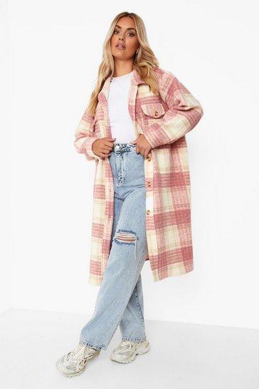 Pink Plus Brushed Check Longline Shacket