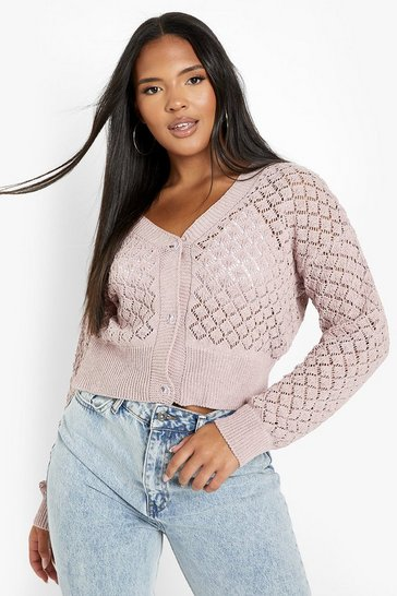 Blush pink Plus Knitted Pointelle Cropped Cardigan