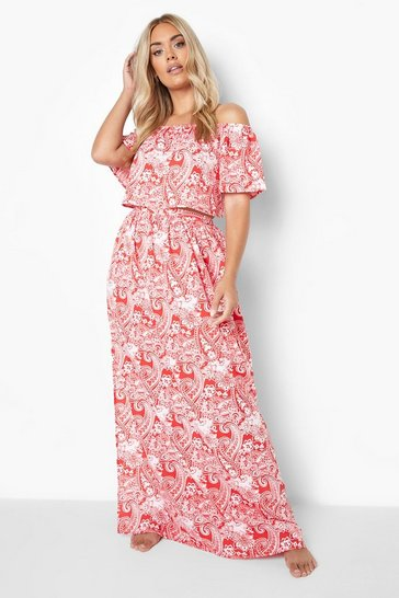 Red Plus Paisley Bardot And Skirt Beach Co-ord