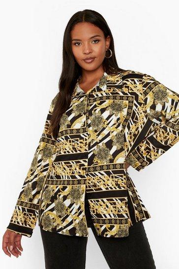 Black Plus Zebra Chain Print Oversized Shirt