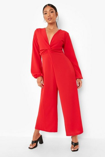 Red Petite Wide Leg Long Sleeve Jumpsuit