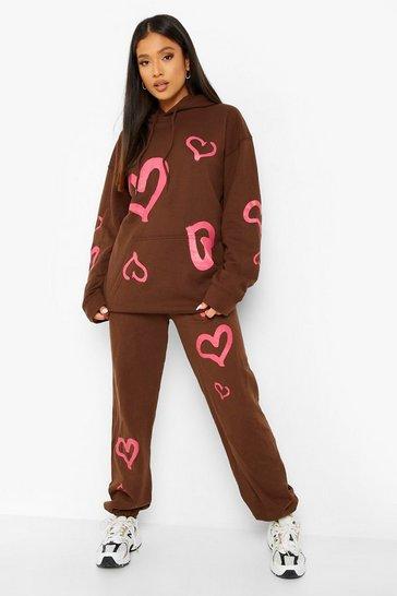 Chocolate brown Petite Heart Print Jogger Tracksuit