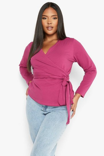 Berry red Plus Jersey Wrap Front Long Sleeve Top