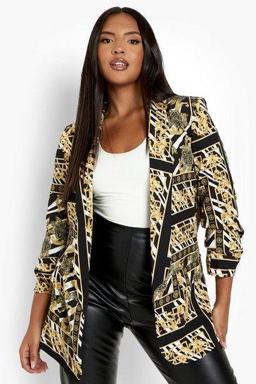 Black Plus Zebra Chain Print Ruched Sleeve Blazer