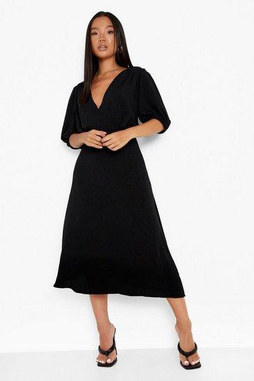 Black Petite Woven Midaxi Dress