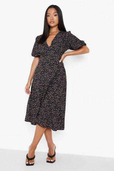 Black Petite Floral Woven Midaxi Dress