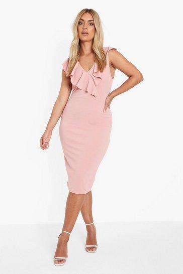 Blush pink Plus Occasion Ruffle Floral Midi Dress
