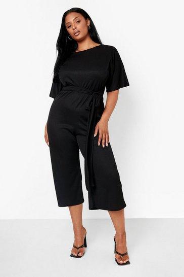 Black Plus Rib Tie Waist Culotte Jumpsuit