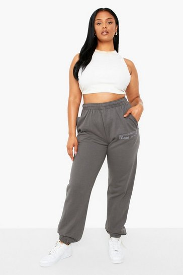 Charcoal grey Plus Dsgn Studio Embroidered Joggers