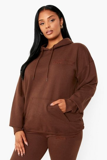 Chocolate brown Plus Dsgn Studio Embroidered Hoodie