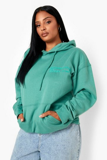 Forest green Plus Dsgn Studio Embroidered Hoodie