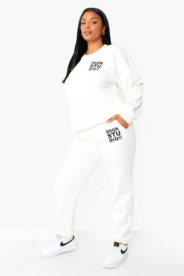 Ecru white Plus Dsgn Studio Embroidered Joggers