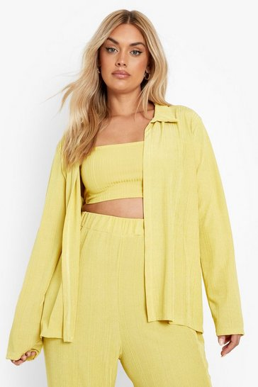 Mustard yellow Plus Recycled Oversized Ribbed Shirt