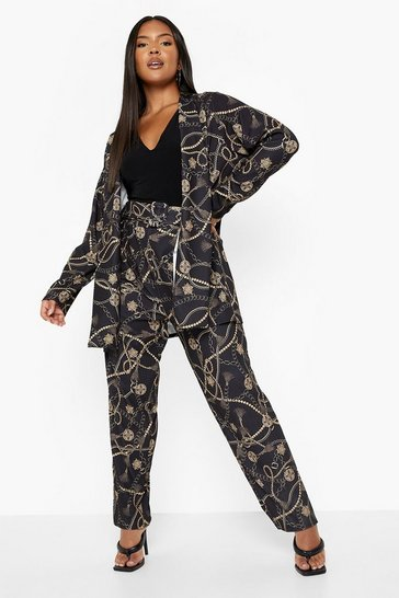 Black Plus Chain Printed Trouser Tailored Co-ord