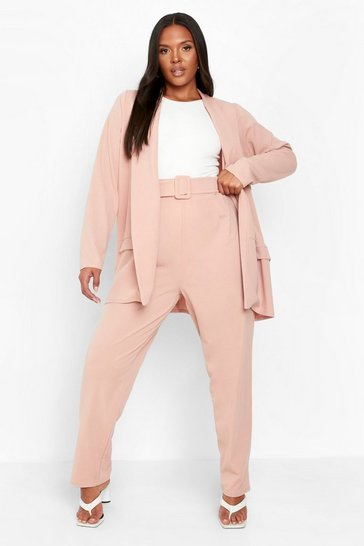 Blush pink Plus Belted Trouser Tailored Co-ord