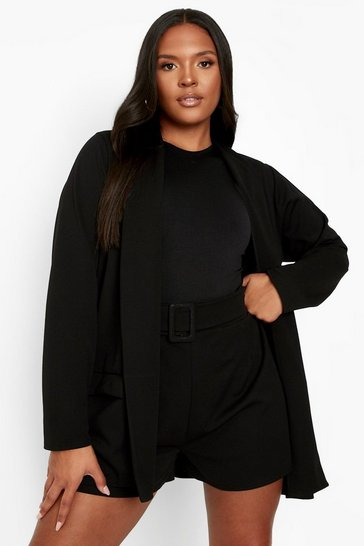 Black Plus Belted Short Tailored Co-ord