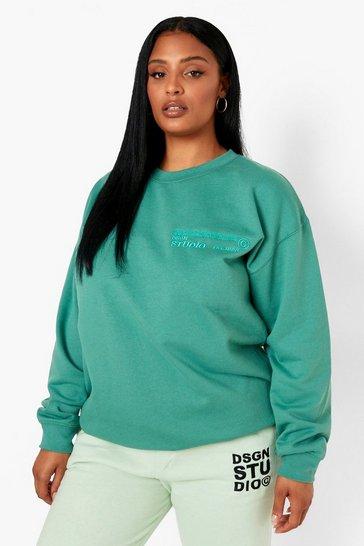 Forest green Plus Dsgn Studio Embroidered Sweatshirt