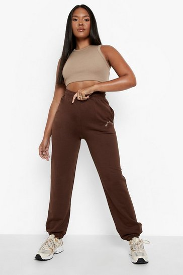 Chocolate brown Plus Ofcl Studio Embroidered Joggers