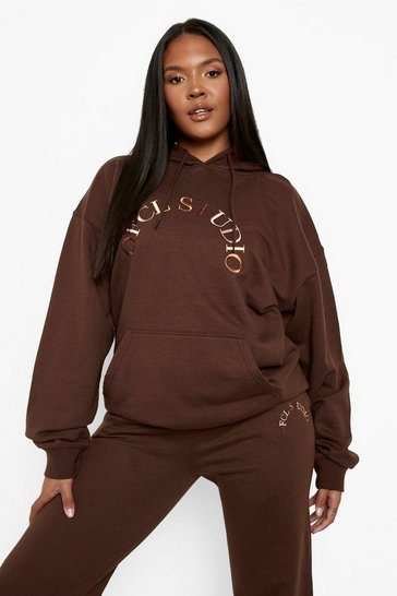 Chocolate brown Plus Ofcl Studio Embroidered Hoodie