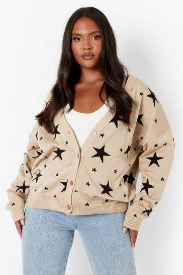 Stone beige Plus Star Knit Cardigan