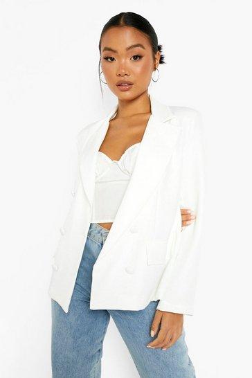 White Petite Oversized Double Breasted Blazer