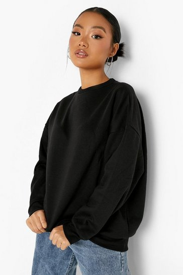 Black Petite Recycled Oversized Sweatshirt
