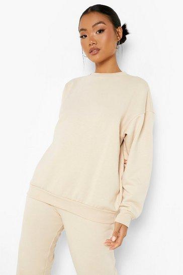Stone beige Petite Recycled Oversized Sweatshirt