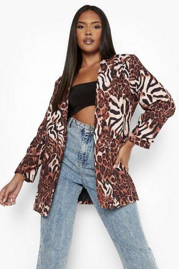 Brown Plus Animal Print Ruched Sleeve Blazer
