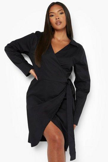 Plus Woven Poplin Wrap Dress