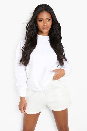 White Petite Recycled Oversized Sweatshirt