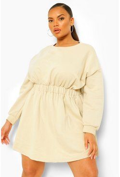 Sand beige Plus Elasticated Waist Sweat Dress